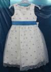 weißes Tüllkleid dezent mit blauen Blümchen Gr 56 -104 In Gr 80 als Leihkleid verfügbar